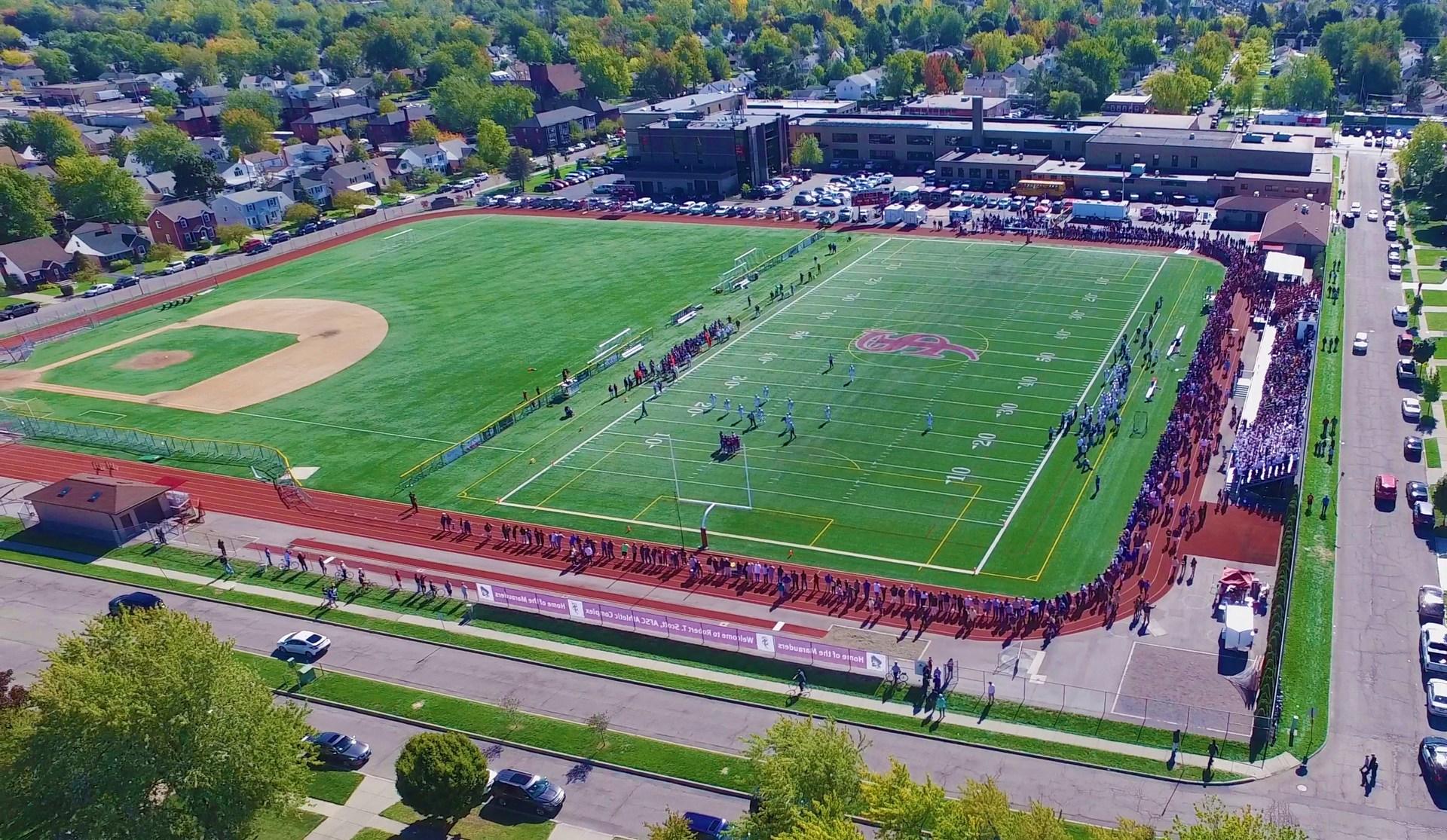 fields in back of school