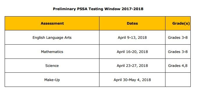 PSSA Assessment Schedule 2017-2018