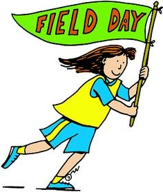 Graphic of a girl holding a flag that say Field Day