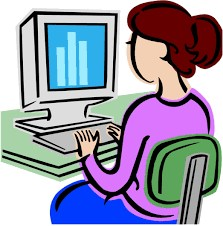 Graphic image of woman at a computer