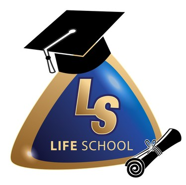 Life School Logo with Graduation Cap and Diploma