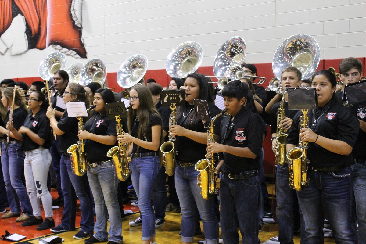 victoria west high school band playing at a pep rally