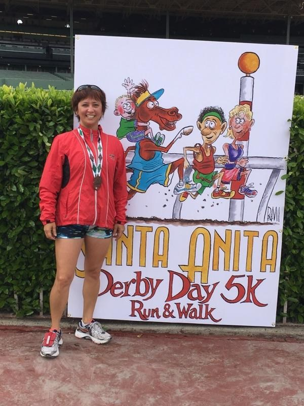 Mrs. Perdomo finish line at Derby 5K race 2016