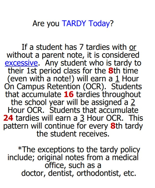 New Tardy Policy