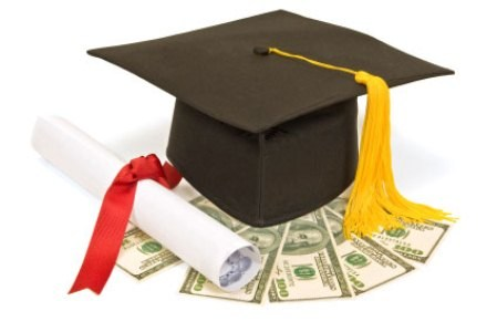 Graphic of a graduation cap with money