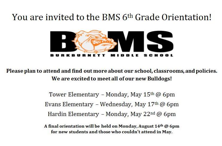 BMS 6th Grade Orientation- May 15th @ 6PM Thumbnail Image