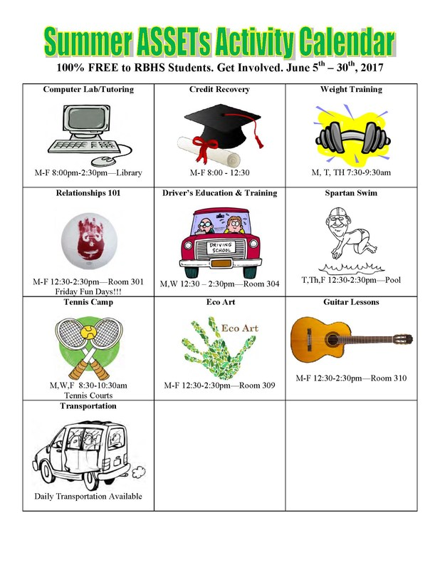 Summer ASSETs Program Activity Calendar