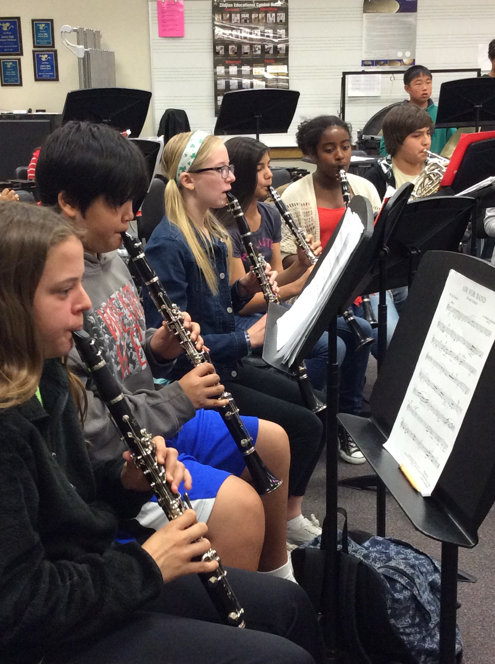 Students playing their Clarinets.