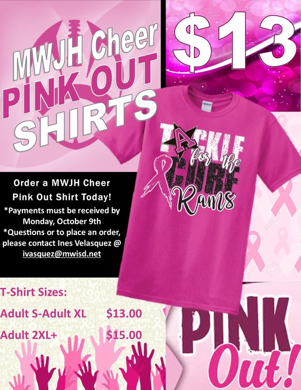 Pink out shirts now on sale for $13.00