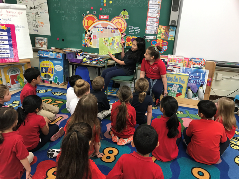 Clarendon Girls Circle members read to kindergarten and first grade classes Thumbnail Image