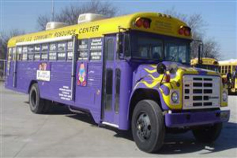 This is a picture of the Sanger ISD Purple Bus!