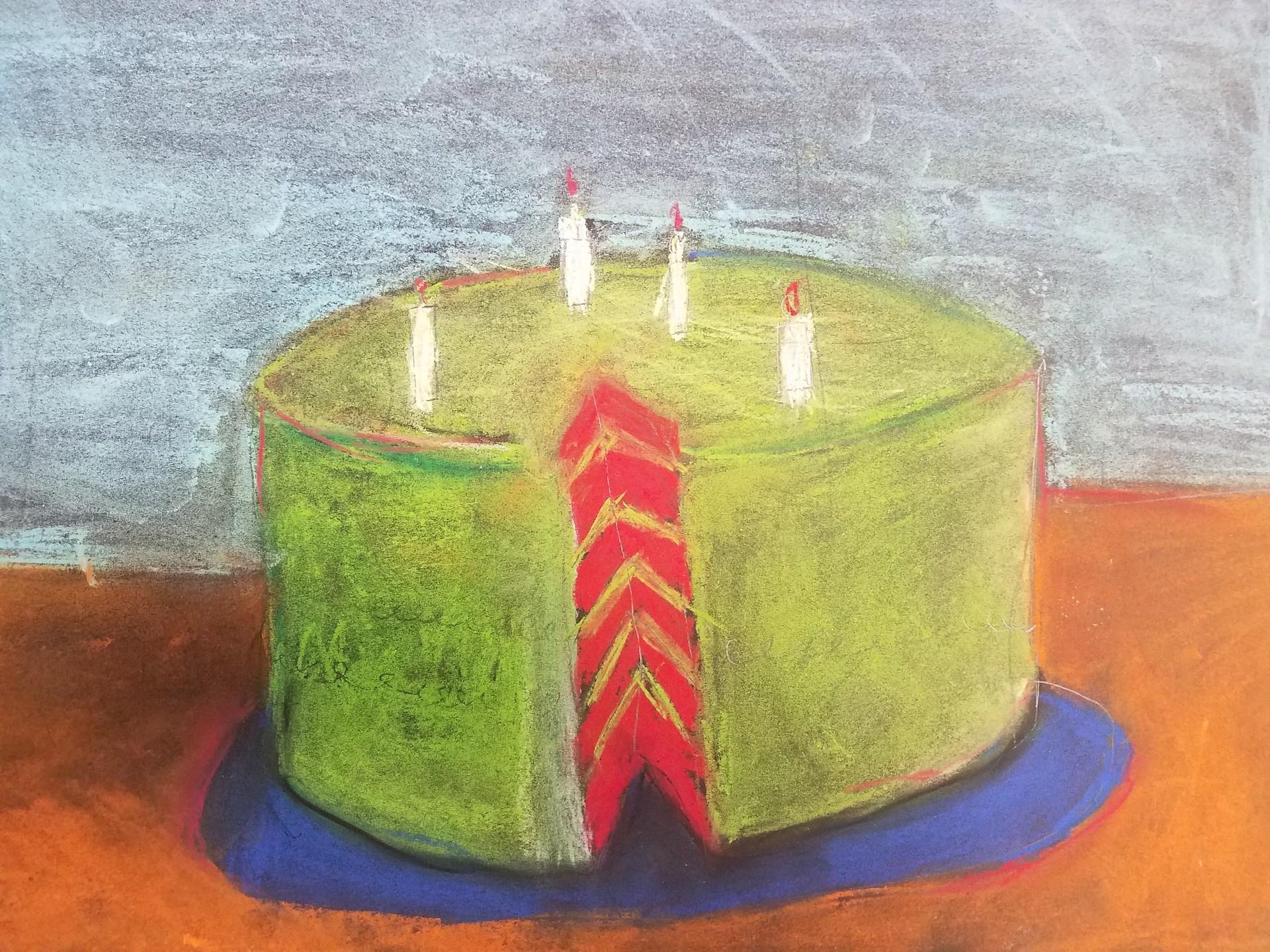 Wayne Thiebaud inspired pastel drawing by Steven Davis