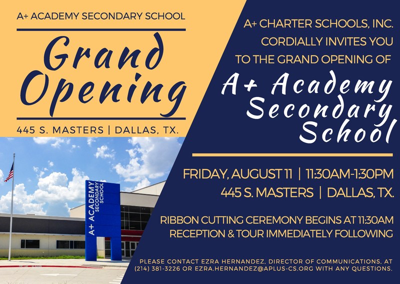 A+ Academy Secondary: GRAND OPENING Thumbnail Image