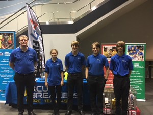 Dan Soeland and Circuit Breakers team members at their booth on September 27, 2017