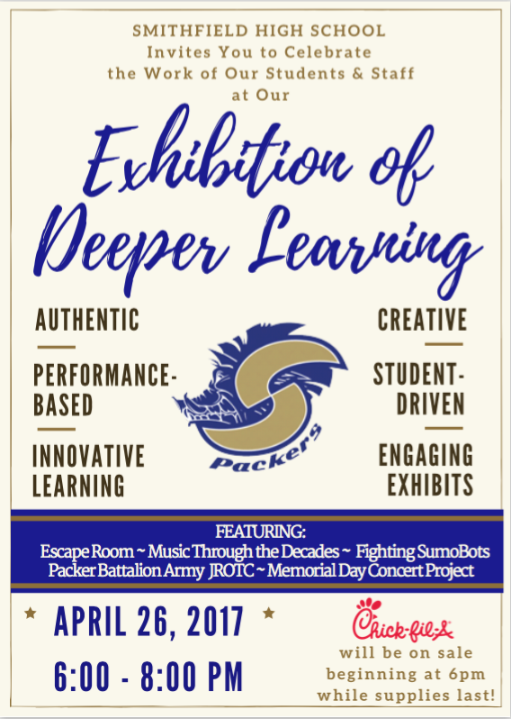 SHS invites you to celebrate the work of our students & staff at our exhibition of deeper learning  April 26, 2017 6:00 to 8:00 pm.  Featuring Eascape Room, Music through the decades, fighting sumobots, packer battalion Army JROTC memorial Day Concert Project