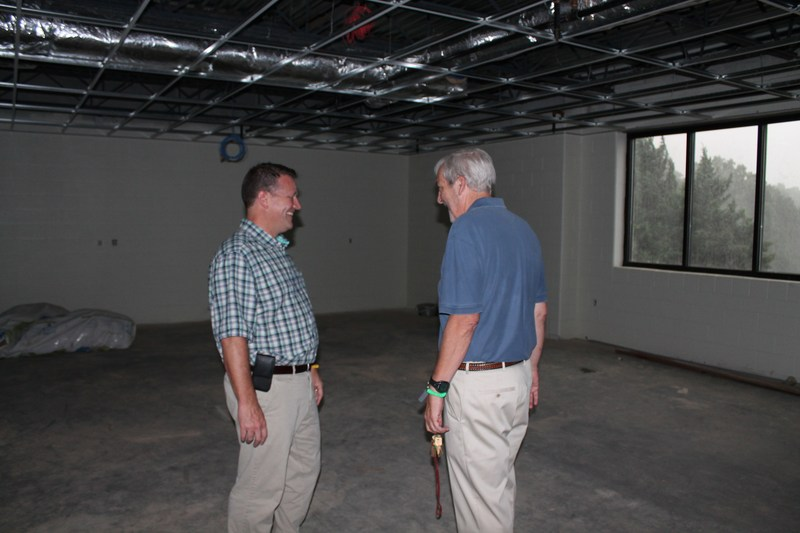 Mr. Twadell and Mr. York discuss the new construction.