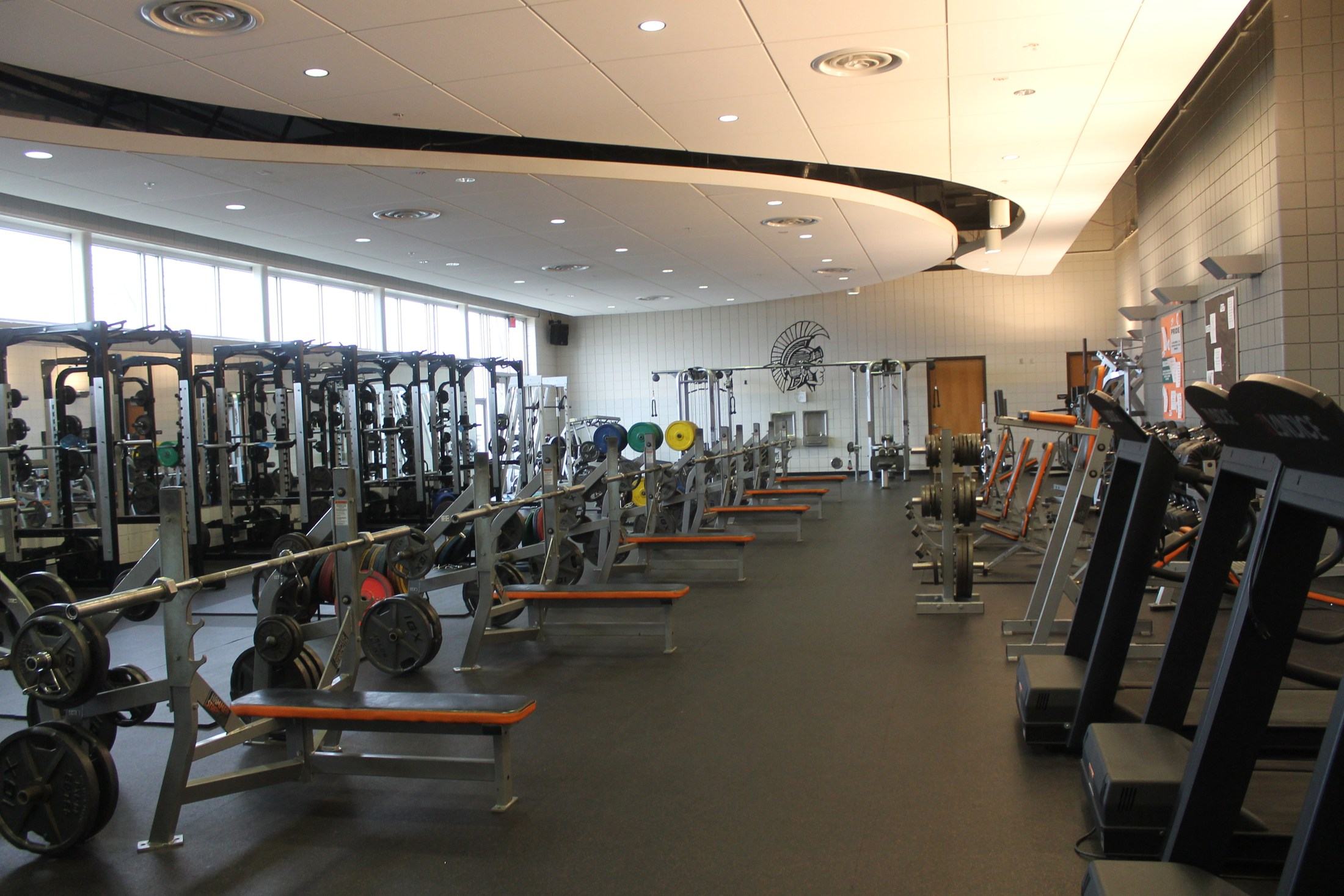 The high school and community fitness center has state-of-the-art equipment.