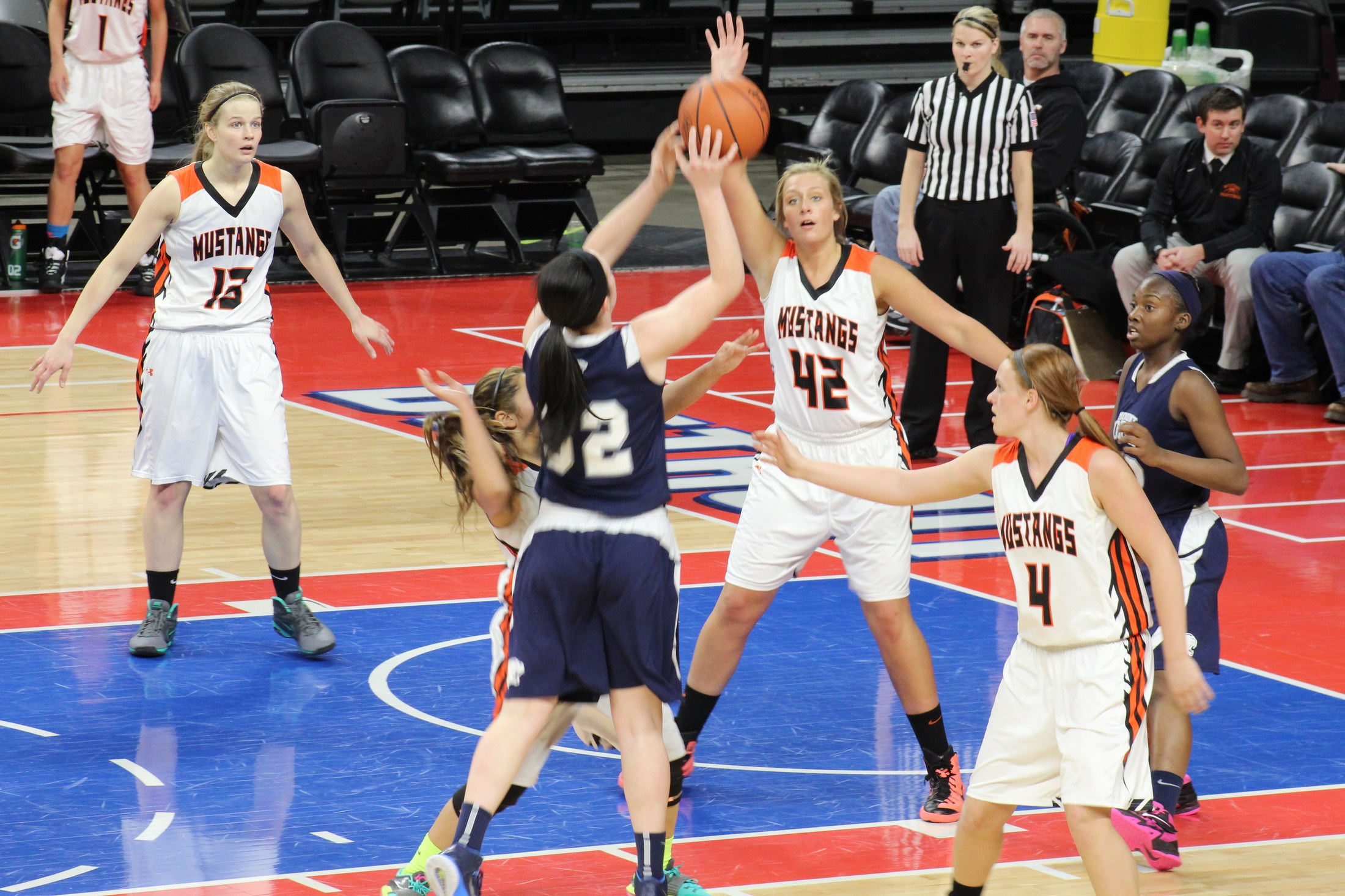 Action photo of girls varsity basketball game at Palace of Auburn Hills