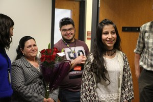 Maria Ines Cruz Rubalcava is recognized as the DHS student of the month for February and awarded the DHS and Fort Lewis College FORTitude Award.