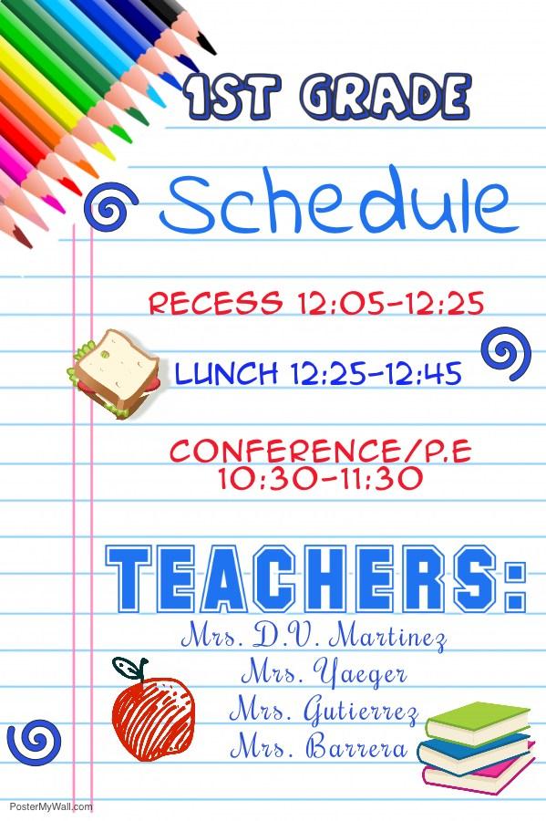 1st Grade Schedule