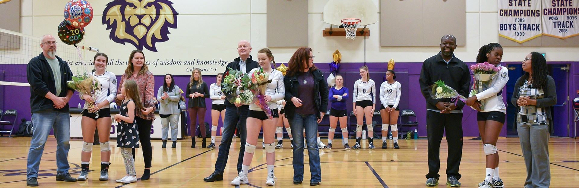 Senior Night for Volleyball girls with parents