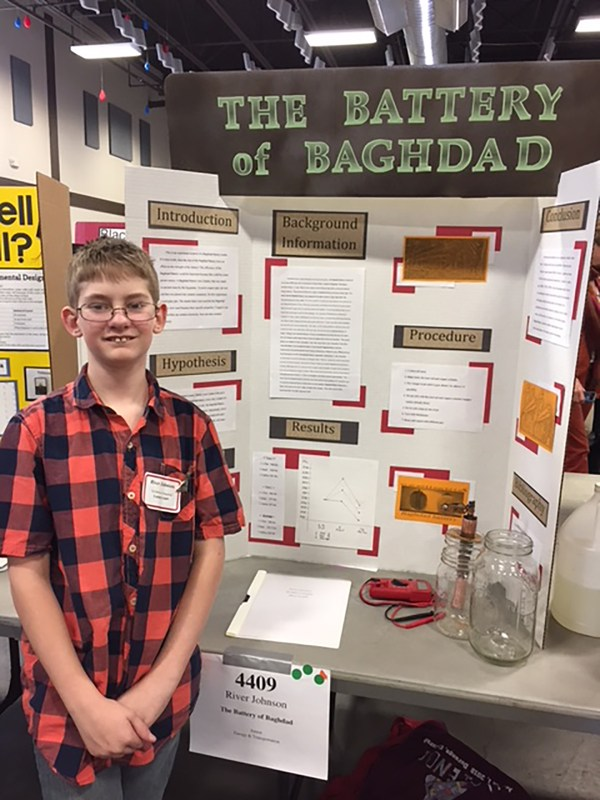 River Johnson places 1st in regional science fair.