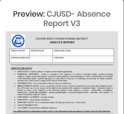 CJUSD Absence Report