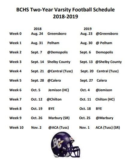 BCHS Two-Year Varsity Football Schedule 2018-2019