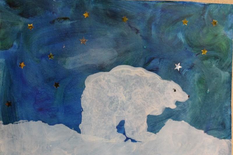 polar bear fingerpaint on teal paint