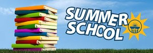 Summer School with a stack of books