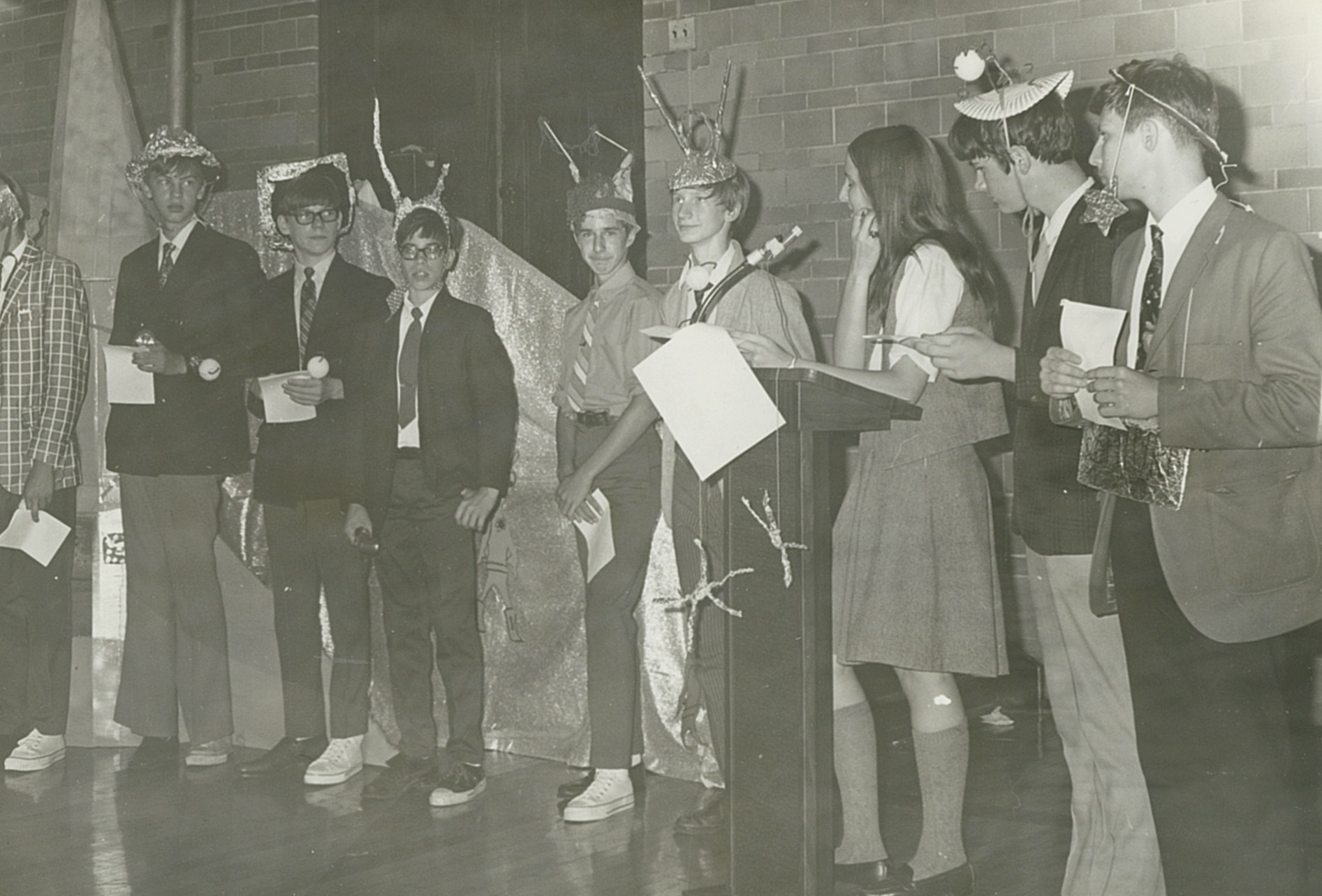 Young men and women at a ceremony for new students in 1970 at OLSH