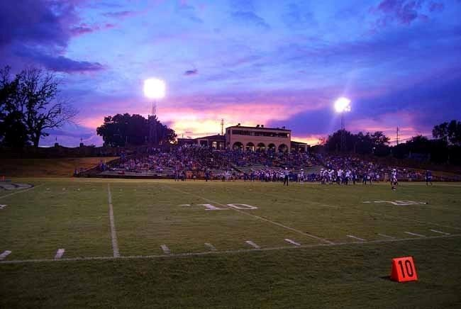 sunset during a game at tomato bowl