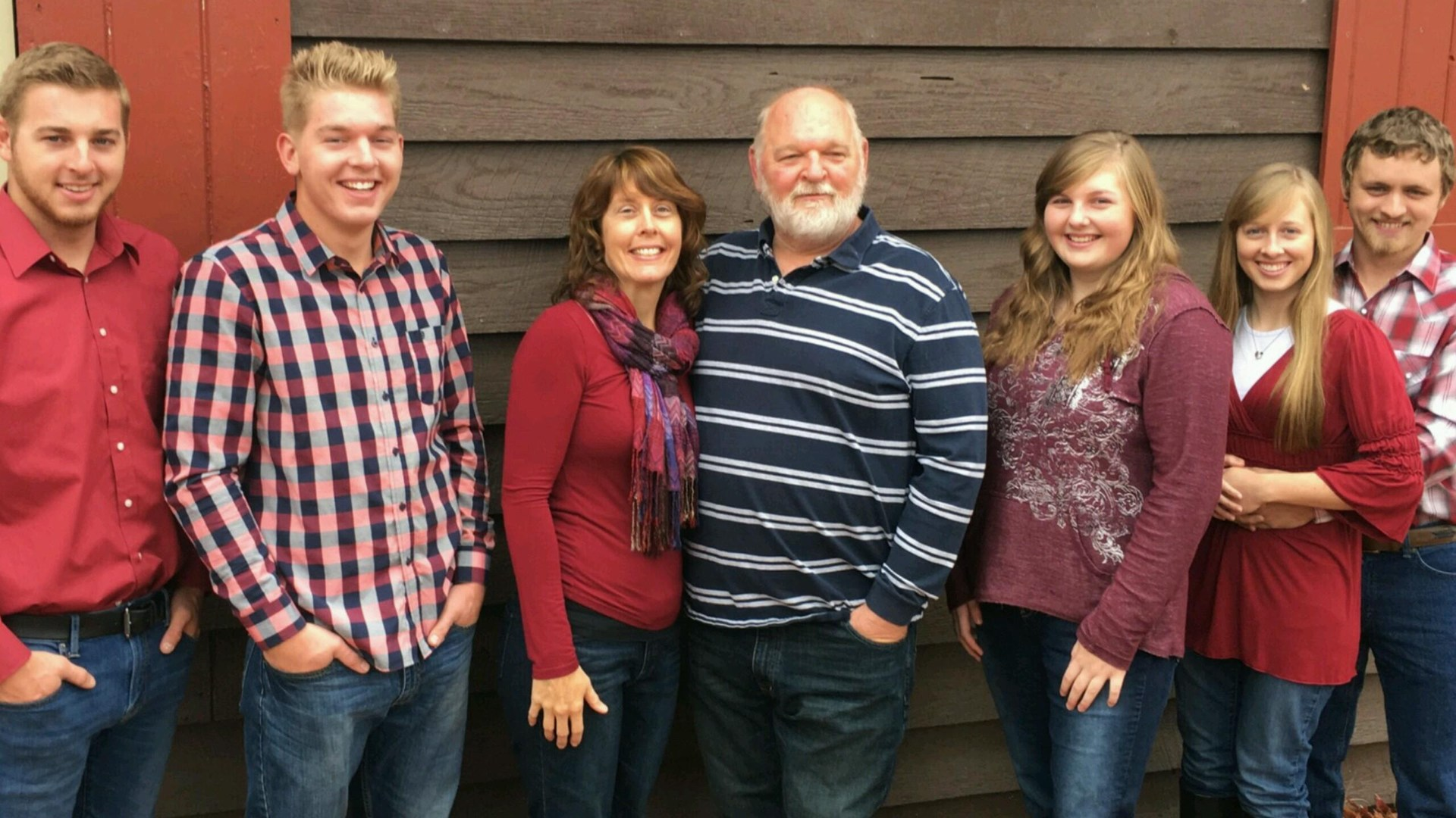 From L to R Son Michael Son Noah Wife Shannon Coach Daughter Leah Daughter Kaley Son in law Mervin