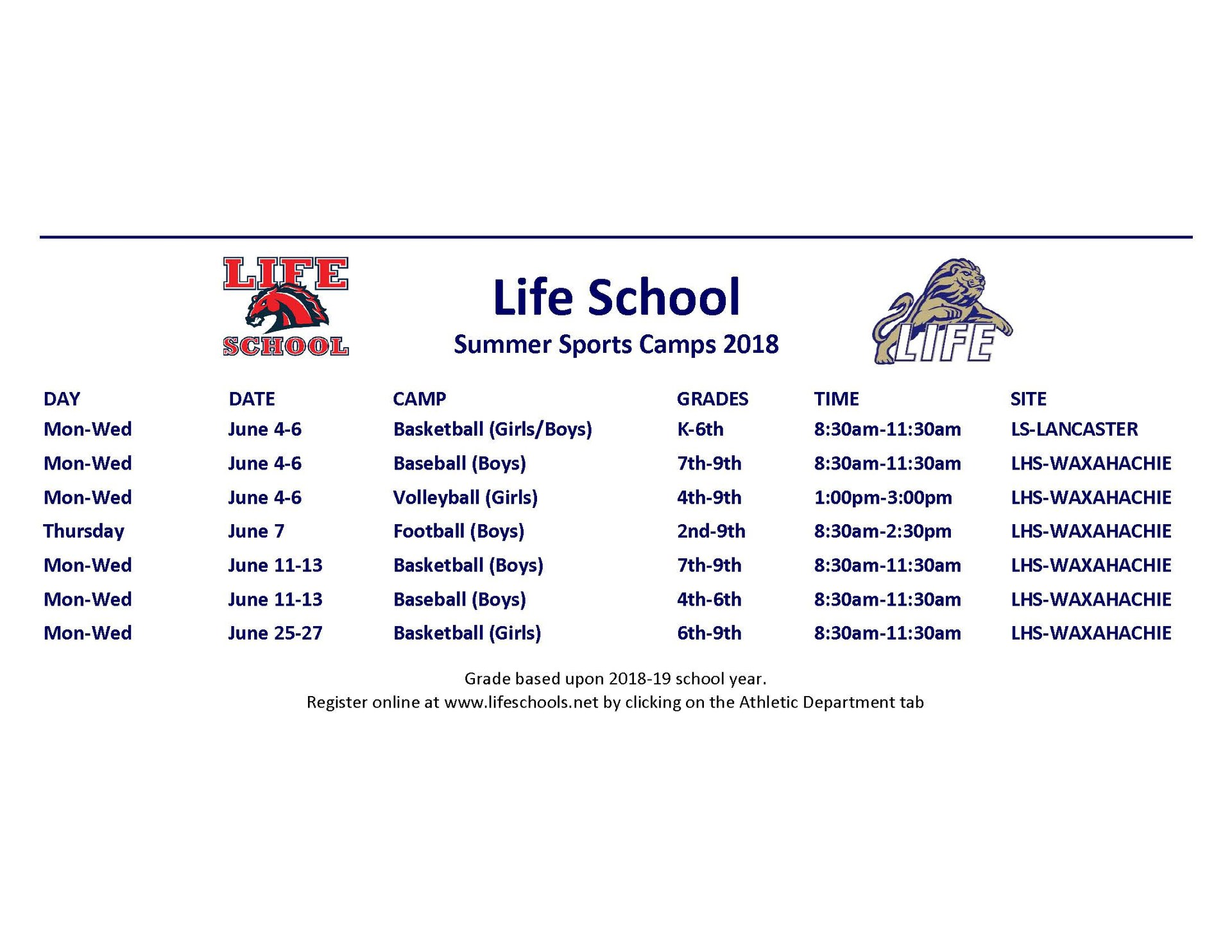 Summer Sports Camp 2018 schedule