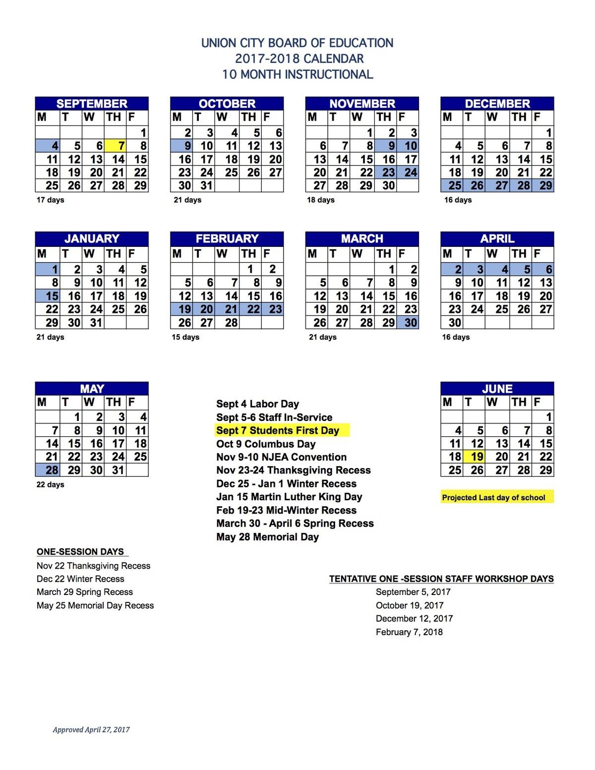 10 Month Instructional Calendar