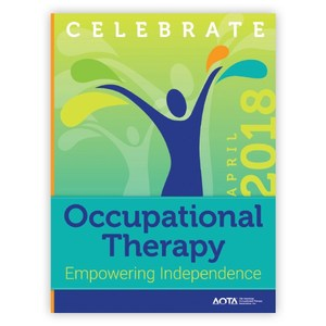 Celebrate Occupational Therapy, empowering independence a cartoon person with arms raised joyfully