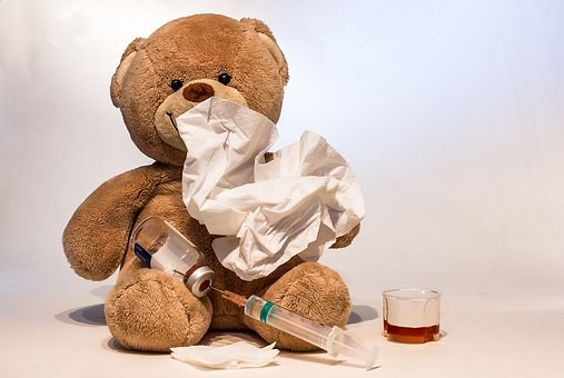teddy bear with tissues and cold