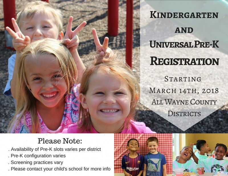 Universal Pre-K and Kindergarten registration opens March 14th, 2018