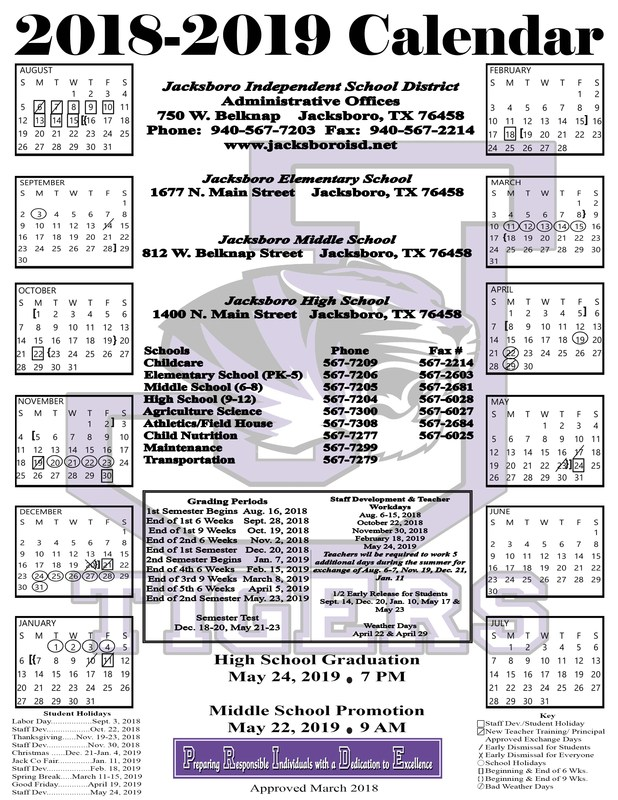 2018-19 JISD School Calendar Released Thumbnail Image