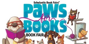 Book Fair logo that has dogs and cats reading books