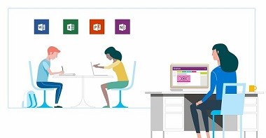 Microsoft in Education classroom graphic