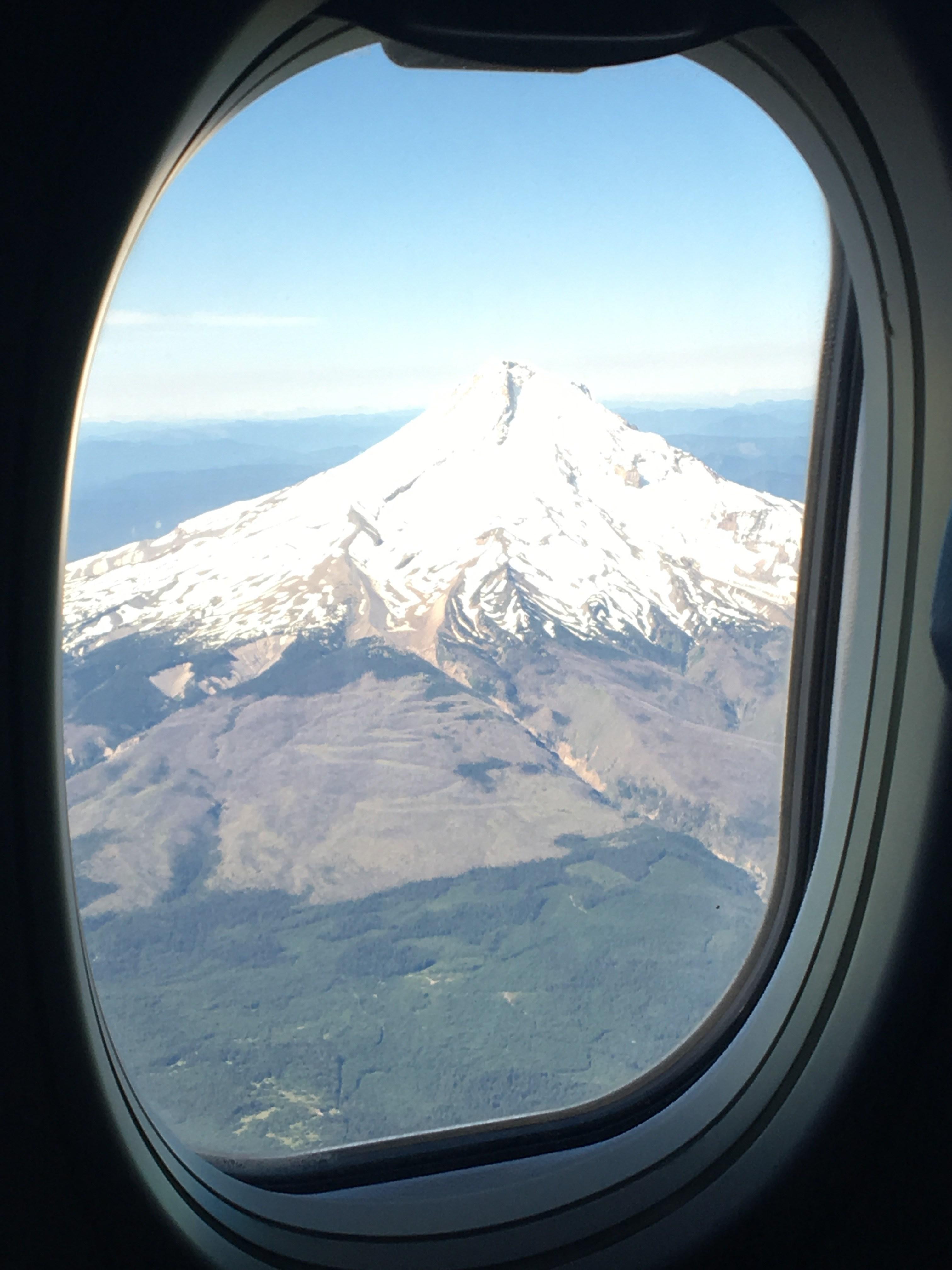 Mt. Hood from an airplane window