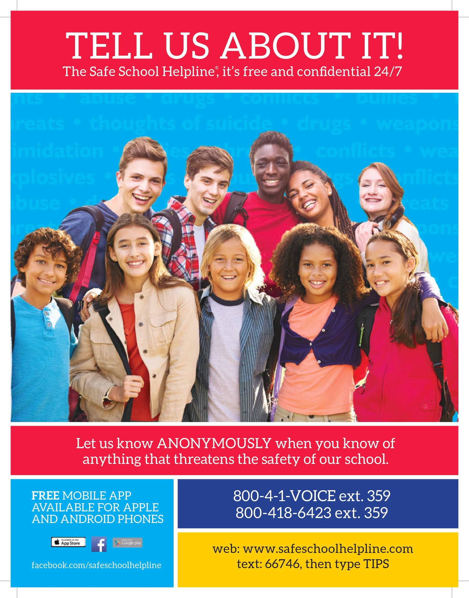 Safe School Helpline flyer/poster with contact information