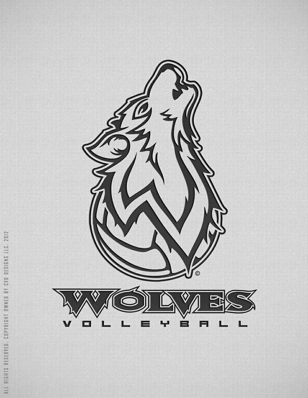 Volleyball with Wolf rising above