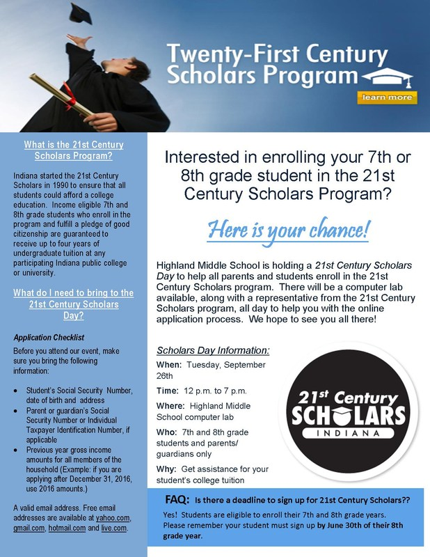 21st Century Scholarship Information - click on link to enroll Thumbnail Image