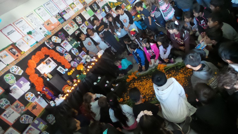Students speak about deceased family members and share kind words with classmates at Tracy Elementary's Día de los Muertos celebration on Nov. 2.
