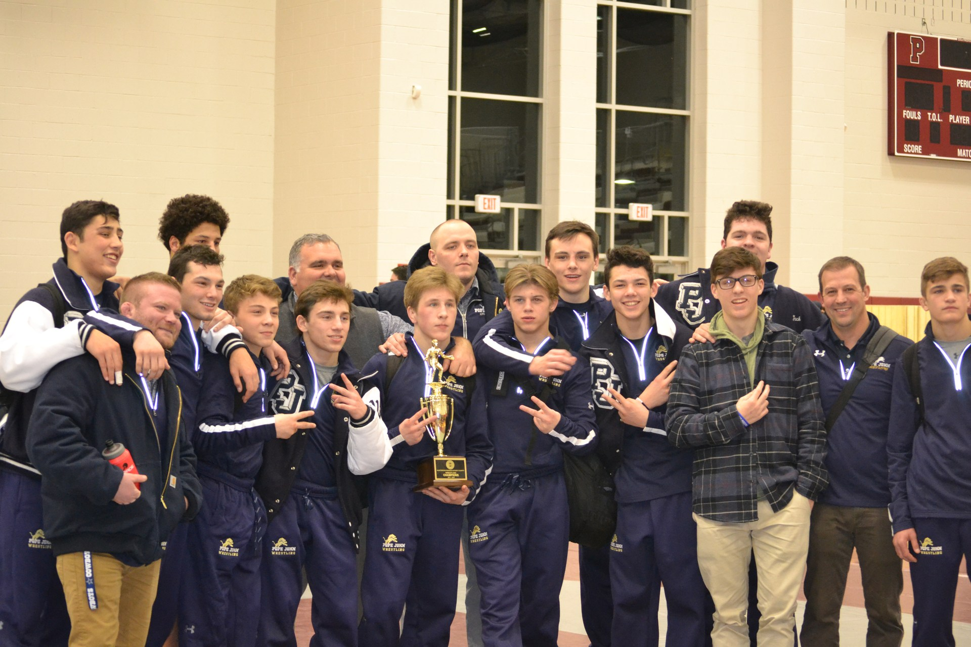 Wrestling team poses for picture