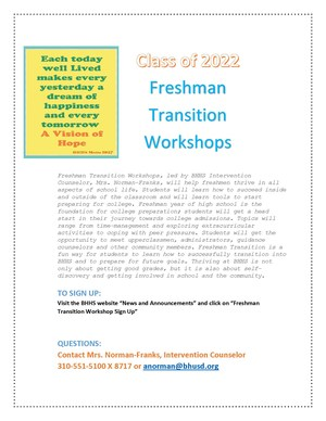 FRESHMAN TRANSITION WORKSHOPS 2018 FLYER PAGE 1