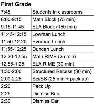Image of 1st grade regular schedule
