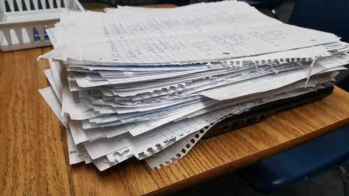 Photo of the pile of papers for IXL for Ch5!